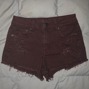 Maroon American Eagle High-Waisted Denim Shorts